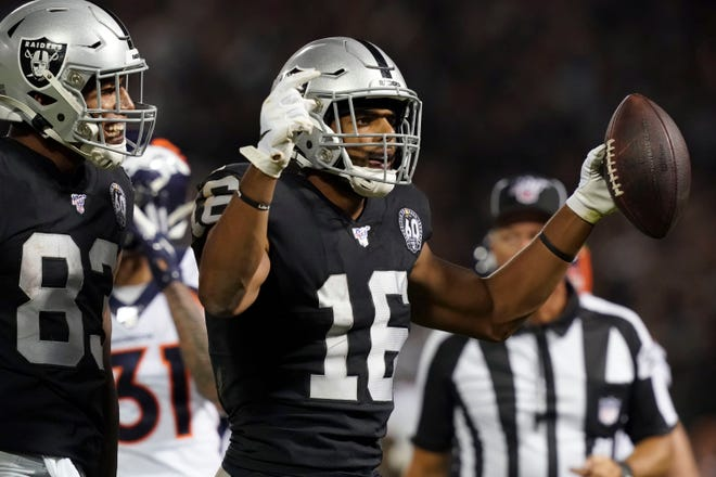 Sep 9, 2019; Oakland, CA, USA; Oakland Raiders wide receiver Tyrell Williams (16) celebrates after a touchdown in the third quarter against the Denver Broncos at Oakland-Alameda County Coliseum. The Raiders defeated The Broncos 24-16.  Mandatory Credit: Kirby Lee-USA TODAY Sports