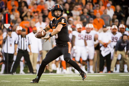 Aug 30, 2019; Corvallis, OR, USA; Oregon State Beavers quarterback Jake Luton (6) throws a pass during the first half against the Oklahoma State Cowboys at Reser Stadium. Mandatory Credit: Troy Wayrynen-USA TODAY Sports