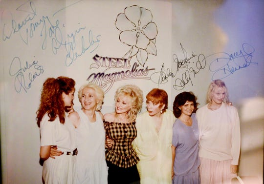 Tommy Whitehead's signed photo of the actors of Steel Magnolias that was filmed in Natchitoches.