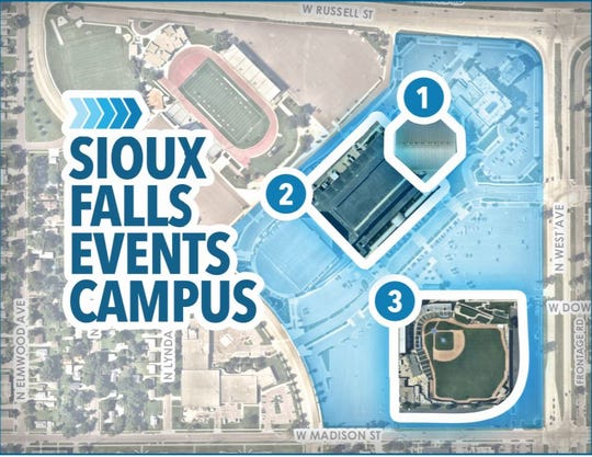Mayor Paul TenHaken received the finalized report from the events campus  study group Tuesday, Sept. 10, which recommends tearing down the Sioux Falls Arena and the nearby baseball stadium while adding up to 60,000-square-feet of convention center space.