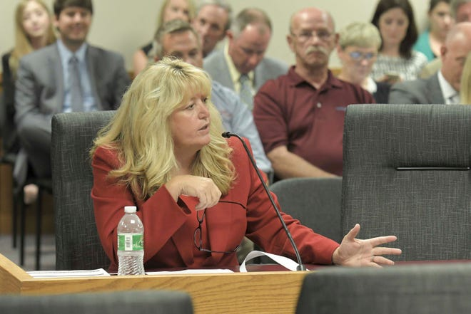 Rep. Becky Ruth, (R) Festus, presents HB1 as members of the Missouri House Ways and Means committee listen Tuesday, Sept. 10, 2019, in Jefferson City, Mo.