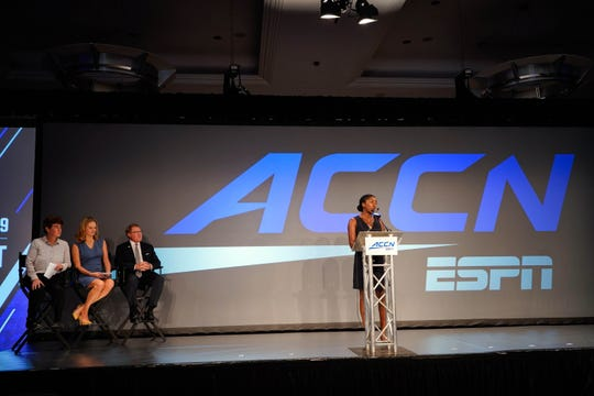 Jul 17, 2019; Charlotte, NC, USA; ACC ESPN Rosalind Durant addresses the media concerning the ACC network during the 2019 ACC Kickoff at the Westin Hotel in Charlotte, NC.