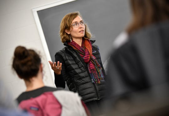Corrie Grosse outlines the subject for the day during her Introduction to Environmental Studies class Monday, Sept. 9, 2019, at St. John's University in Collegeville.
