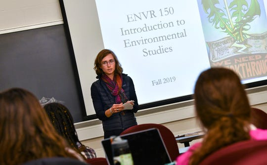 Corrie Grosse welcomes students to her Introduction to Environmental Studies class Monday, Sept. 9, 2019, at St. John's University in Collegeville.