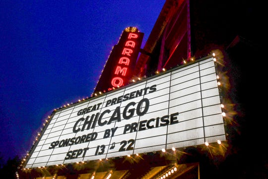 "The marquee at the Paramount Theatre promotes the upcoming production of ""Chicago"" Monday, Sept. 9, in St. Cloud."