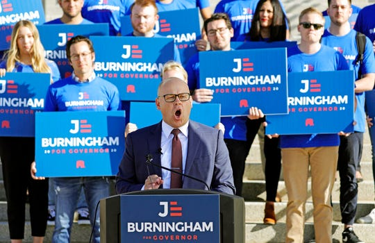 Republican Jeff Burningham holds a press conference announcing his candidacy for Utah governor, becoming the second Republican candidate to officially enter what could become a crowded field Tuesday, Sept. 10, 2019, at the Utah State Capitol, in Salt Lake City. (AP Photo/Rick Bowmer)