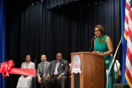 Dean of Florida A&M's College of Education Allyson Watson speaks during a ribbon-cutting ceremony held to introduce Sabal Palm Elementary School as a community partnership school Tuesday, Sept. 10, 2019.