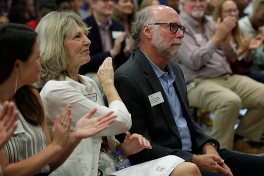Gil Ziffer received multiple rounds of applause from those attending a ribbon-cutting ceremony held to introduce Sabal Palm Elementary School as a community partnership school Tuesday, Sept. 10, 2019.