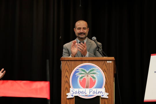 Leon County Schools Superintendent Rocky Hanna applauds all those that had a hand in making Sabal Palm Elementary School a community partnership school Tuesday, Sept. 10, 2019.