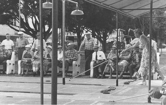 March, 1969 -  Many a hard-fought tournament was played on these shuffleboard courts in Pocahontas Park in downtown Vero Beach.