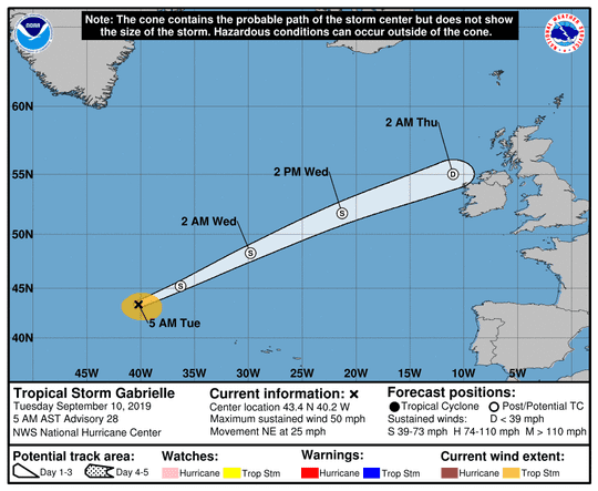 Tropical Storm Gabrielle 5 a.m. Sept. 10, 2019