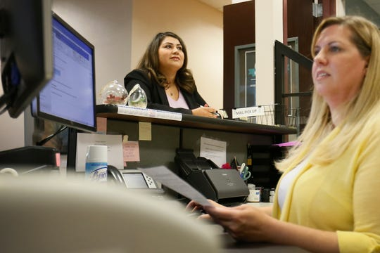 El Paso East-Central city Rep. Cassandra Hernandez files to run in a special election for her seat Tuesday, Sept. 10, 2019, at El Paso City Hall. City Clerk's Department secretary Mary Katz helped Hernandez file her paperwork.