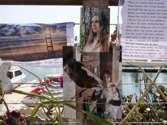 Photos of Lisa Fiedler, of Mill Valley are part of the memorial for the victims of the Conception boat fire Sept. 2 off Santa Cruz Islands. Fiedler was named as a victim Tuesday.