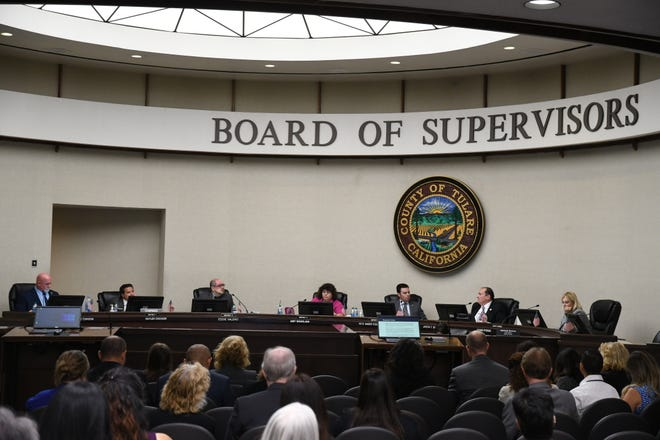 This file photo shows Tulare County Board of Supervisors during a board meeting on Sept. 10, 2019.
