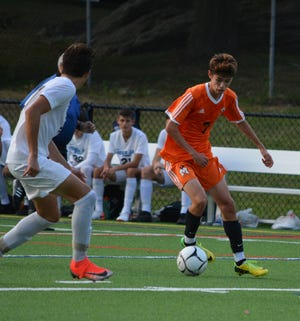 A crossing pass from Liam O'Reilly deflected off a John Jay defender in the first half and Mamaroneck went into defensive mode to hang on to the 1-0 victory on Sept. 9, 2019.