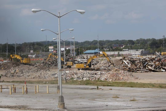 Construction workers are near the end of demolition on the former General Motors plant at Boxwood Road near Newport.