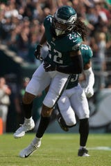 Eagles' Sidney Jones (22) in action Sunday at Lincoln Financial Field.