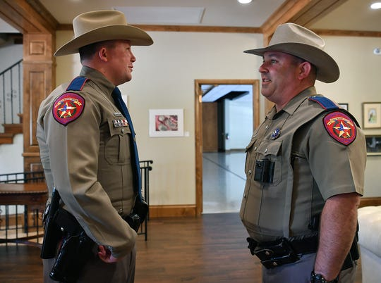 Texas DPS troopers Aaron Clopton. left, and Bart Yoder recall helping save Kaylea Butts after she was kidnapped and almost stabbed to death in April 2018.