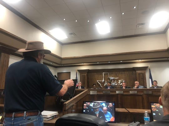 Larry Robinson speaks Tuesday during the second public hearing on the Wichita Falls tax rate. Council will approve the tax rate and final budget Sept. 17.