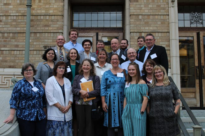 The Wisconsin Farmers Union Fly-In delegation includes, from left, (front row) Sarah Lloyd, Wisconsin Dells; Sarah Baghat-Eggert, Clayton; Linda Ceylor, Catawba; Lisa Geary, Viola; Erin Elsner, Medford; Julie Keown-Bomar, Menomonie; Kriss Marion, Blanchardville; (second row) Bobbi Wilson, Madison; Kara O'Connor, Madison; Sue Marx, Helenville; Paul Adams, Eleva; (third row) Rick Adamski, Seymour; Maxine and Bryce Luchterhand, Unity; Dennis Rosen, Emerald; (back row) Andrew Cotter, Eau Claire; Darin Von Ruden, Westby; Tommy Enright, Amherst; and Joseph Ploeckelman, Athens. Not pictured: John Adams, Washburn; Victoria and Brittany Dunnum, Westby; and Evan Flom, Ashland.