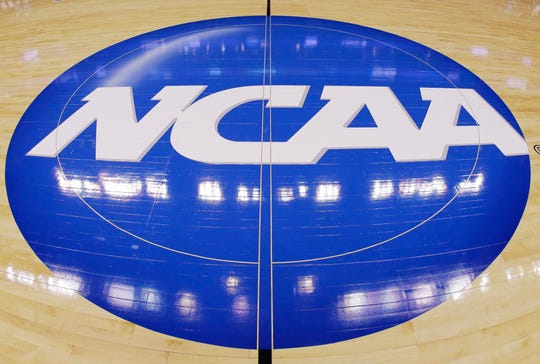 The NCAA logo is displayed at mid-court.