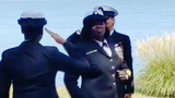 After six years in the Army, followed by 20 years in the Navy, Petty Officer First Class Georgia Rhem finished her retirement ceremony with a dance.