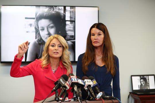 Attorney Lisa Bloom (L) and her client Janice Dickinson announce settlement in their defamation lawsuit against Bill Cosby on July 25, 2019 in Woodland Hills, California.