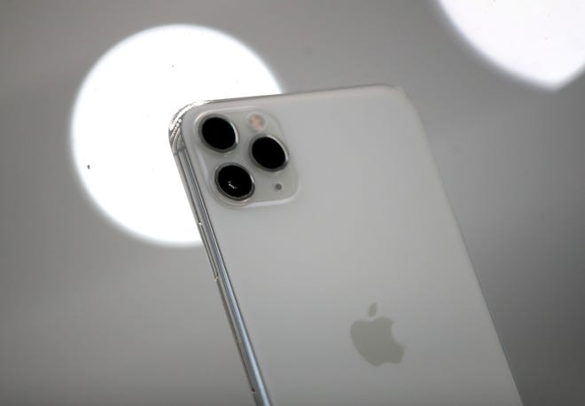 CUPERTINO, CALIFORNIA - SEPTEMBER 10: The new Apple iPhone 11 Pro is displayed during a special event on September 10, 2019 in the Steve Jobs Theater on Apple's Cupertino, California campus. Apple unveiled new products during the event.  (Photo by Justin Sullivan/Getty Images) ORG XMIT: 775398558 ORIG FILE ID: 1173660810