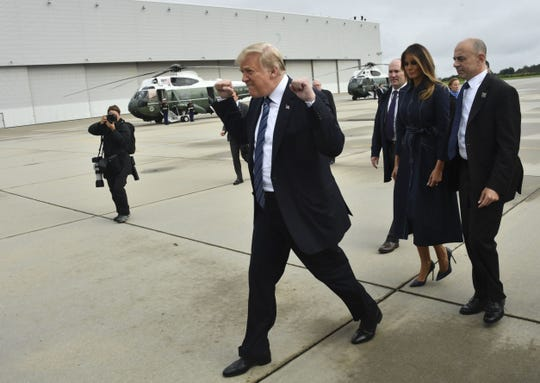 President Donald Trump and first lady Melania Trump travel to Shanksville, Pennsylvania, on Sept. 11, 2018.