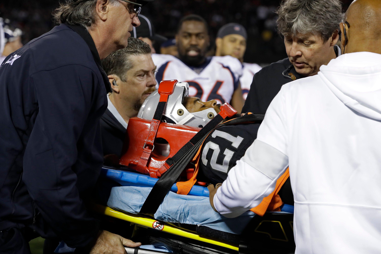 Raiders CB Gareon Conley taken off field on stretcher after neck injury vs. Broncos