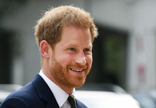 Prince Harry arrives at the Guildhall in London on Sept. 10 to mark the fifth anniversary of the Invictus Games at a reception.