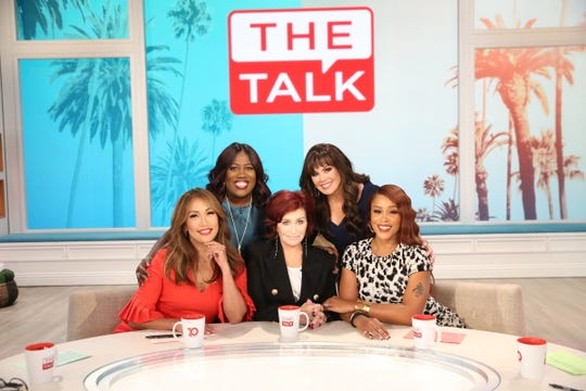 """The ladies of  """"The Talk,"""" September 9, 2019 on the CBS Television Network. From left, Sheryl Underwood, Carrie Ann Inaba, Sharon Osbourne, Eve and Marie Osmond, shown."""