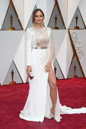 Chrissy Teigen on the red carpet during the 89th Academy Awards at Dolby Theatre.