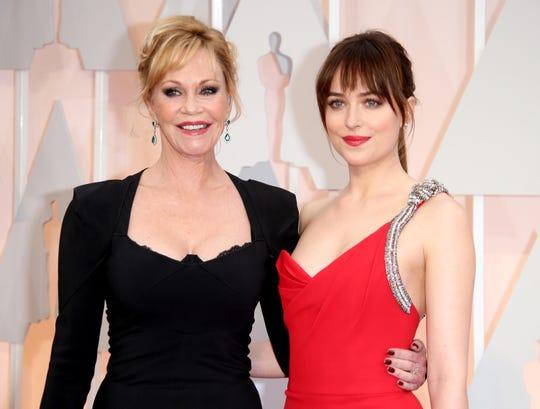Melanie Griffith and Dakota Johnson at the Academy Awards in 2015.
