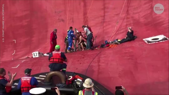 They're alive! Rescuers free all 4 crew members from capsized cargo ship off Georgia