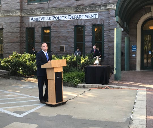 Asheville Police Chief Chris Bailey speaks at a 9/11 ceremony in front of the police station on Sept. 11.