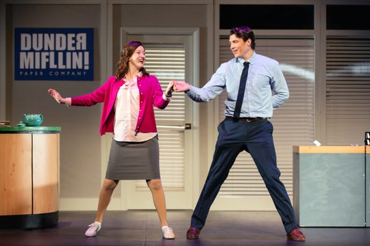 "Madeline Glenn Thomas as Pam, and Patrick Constant as Jim star in ""The Office! A Musical Parody."""