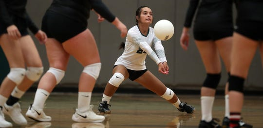 Klahowya's Maile Lueck returns a serve against Crosspoint on Tuesday September 10, 2019.