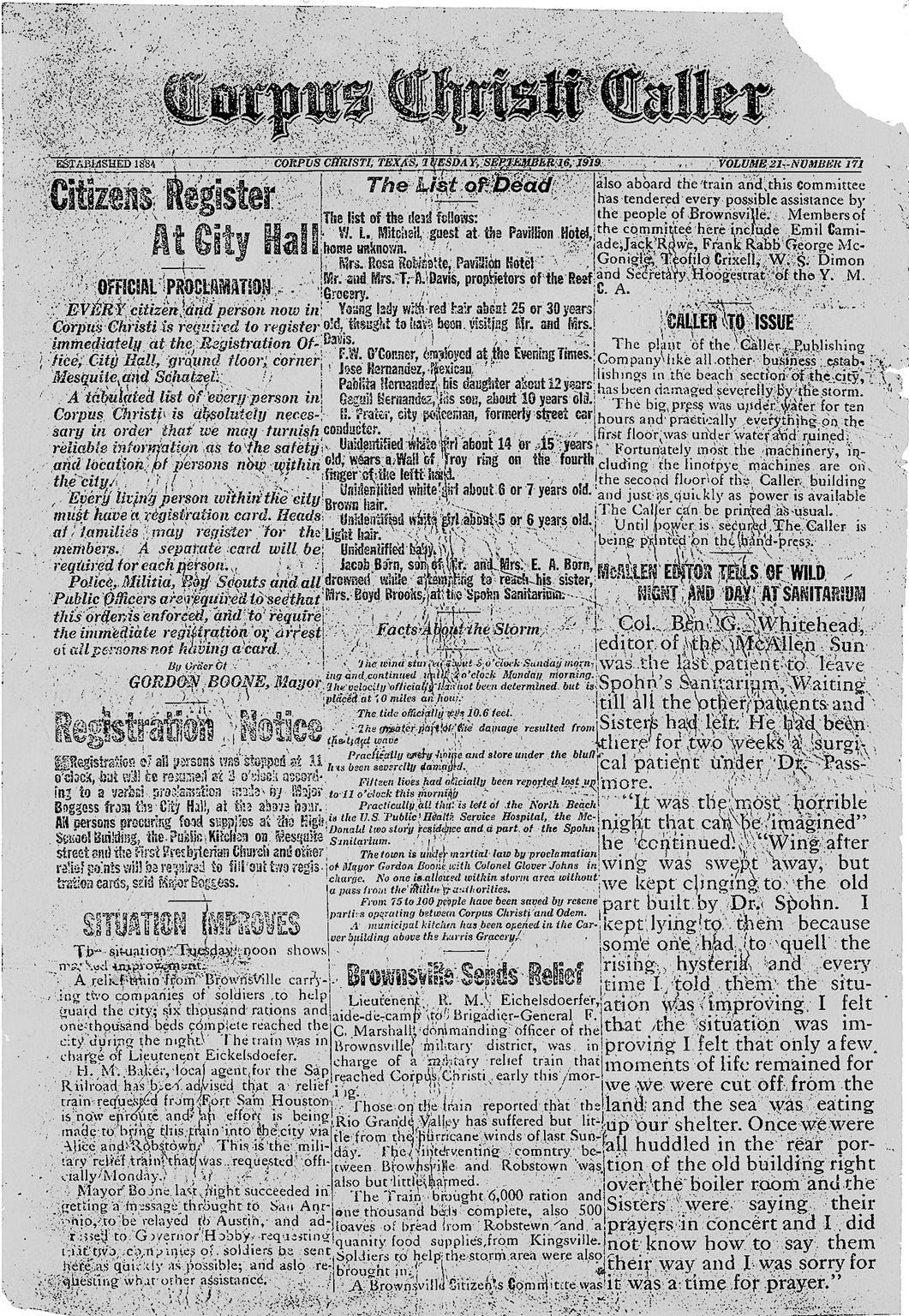 The front page of the Corpus Christi Caller on Sept. 16, 1919 following the devastating hurricane that made landfall on Sept. 14.