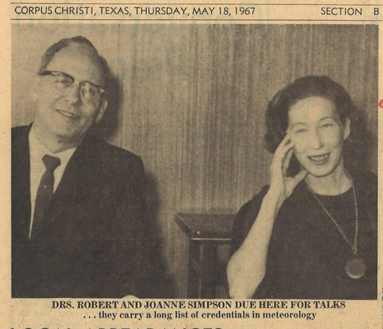 Drs. Robert and Joanne Simpson in a May 18, 1967 clipping from the Caller-Times. Robert Simpson was a Corpus Christi native and director of the National Hurricane Center from 1968 to 1974. Joanne Simpson was the first woman in the U.S. to receive a doctorate in meterology and was the director of Project Stormfury from 1965-68.