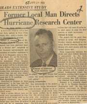 Dr. Robert H. Simpson in a April 29, 1956 Caller-Times clipping. The Corpus Christi native helped invent the Saffir-Simpson hurricane wind scale and was the director of the National Hurricane Center from 1968 to 1974.