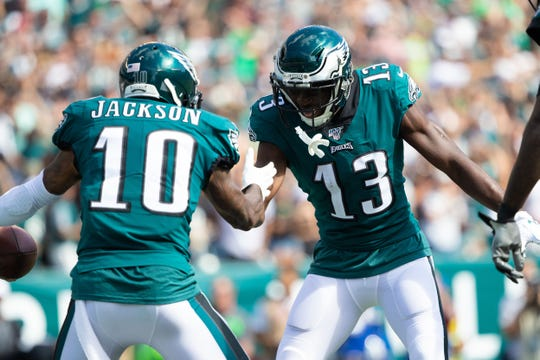 Sep 8, 2019; Philadelphia, PA, USA; Philadelphia Eagles wide receiver DeSean Jackson (10) celebrates with wide receiver Nelson Agholor (13) after a touchdown reception during the third quarter against the Washington Redskins at Lincoln Financial Field. Mandatory Credit: Bill Streicher-USA TODAY Sports