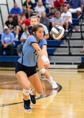 Adena's Camryn Carroll digs a ball against Zane Trace in a 3-0 win over the Pioneers at Adena High School in Frankfort, Ohio, on September 10, 2019.