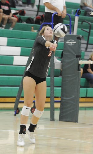 Westfall's Kristin Phillips digs a ball in a 3-2 win over Huntington at Huntington High School in Chillicothe, Ohio on Tuesday Sept. 10, 2019.