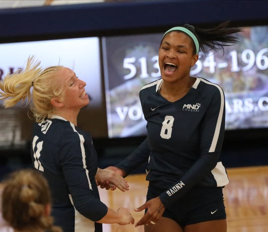 Mount Notre Dame players Mikaela  Coffey and Lauren Hogan react during their volleyball game against Ursuline, Tuesday, Sept. 10, 2019.
