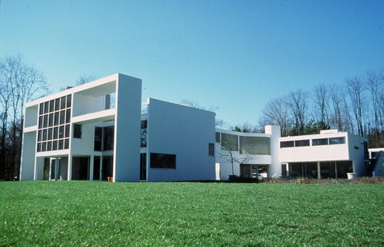 A photo shot by Alice Weston for a book on Cincinnati homes. The picture is of the postmodern Lloyd Taft house in Indian Hill, designed in 1978-81 by New York architects Charles Gwathmey and Robert Siegel.