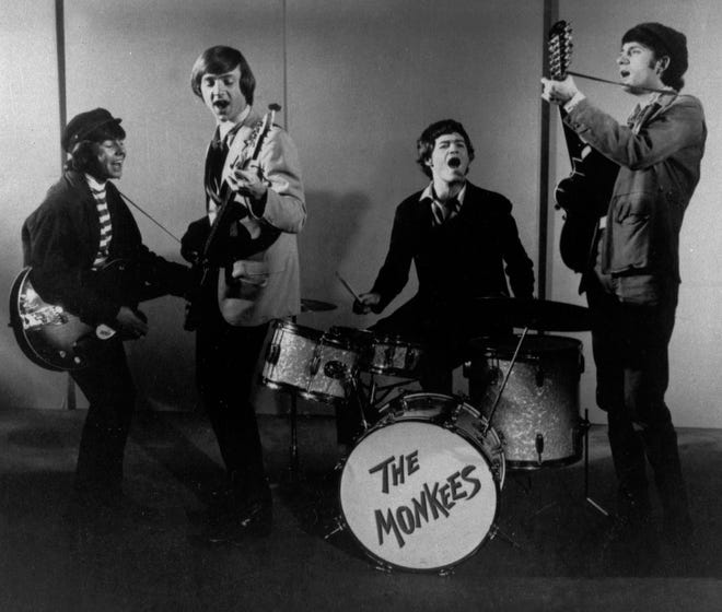 A 1966 file photo of The Monkees: from left, Davy Jones, Peter Tork, Micky Dolenz and Michael Nesmith.