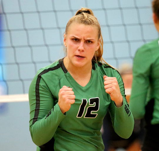 Ursuline player Logan Case reacts during their volleyball game against Mt. Notre Dame, Tuesday, Sept. 10,2019.