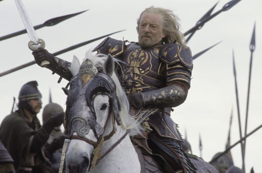 """King Theoden (Bernard Hill) rallies his Rohan troops at Pelennor Fields in """"The Lord of the Rings: The Return of the King."""""""
