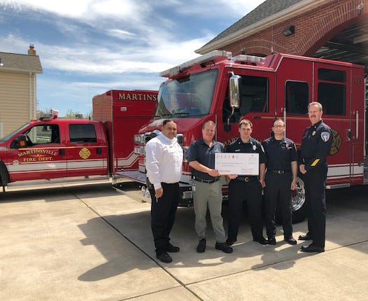 Roger Shaffer, Manager of Field Operations for New Jersey American Water, was proud to present a check for $1,000 to Martinsville Volunteer Fire Department. The department was one one of 21 volunteer fire departments and emergency responders located throughout the State chosen as a winner of grant funds through New Jersey American Water's 9th Annual First Responder Grant Program.